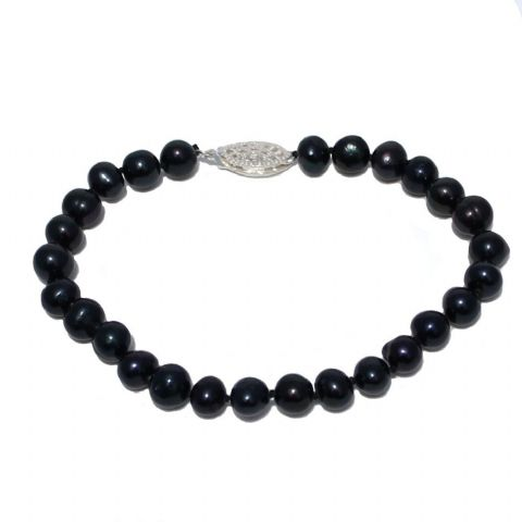 Black Pearl Bracelet 6mm Cultured Pearls Sterling Silver Clasp